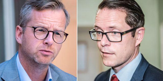 Mikael Damberg (S) och Lars Hjälmered (M).  TT