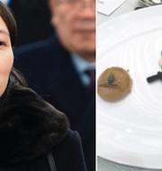 """Nordkoreas diktator Kim Jong-Uns lillasyster är på OS/efterrätten """"A Plate of Hope."""" TT/Twitter"""