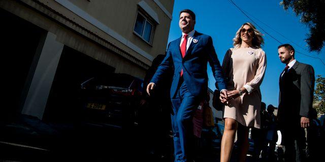 Gibraltars regeringschef Fabian Picardo med frun Justine Olivero. Arkivbild. JavierFergo / TT NYHETSBYRÅN