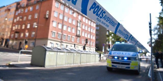 Polisavspärrningar i samband med skjutningen.  Pontus Lundahl/TT / TT NYHETSBYRÅN