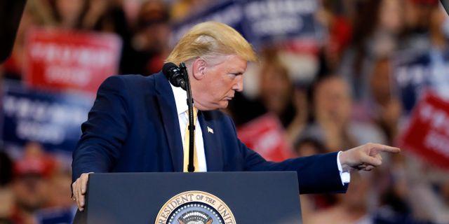 Donald Trump under ett kampanjmöte i helgen. Gerald Herbert / TT NYHETSBYRÅN