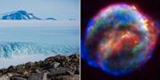 Antarktis och en bild på Keplers supernova. TT och Wikipedia/Nasa