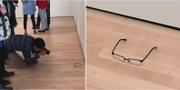 17-åriga TJ Khayatan ville ta reda på om allt verkligen kan betraktas som konst och placerade sina glasögon på golvet i museet. Twitter