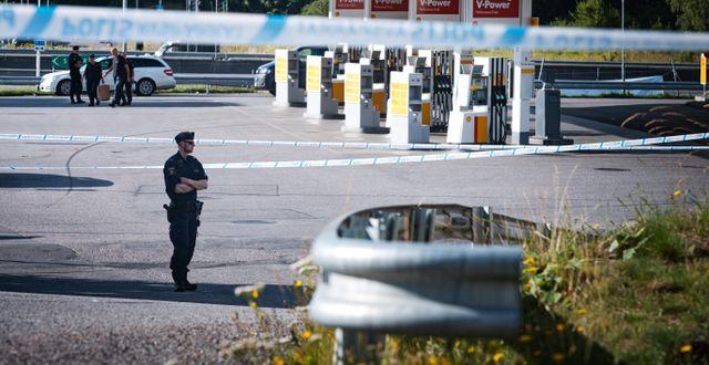Polis på platsen för skotten Naina Helén Jåma/TT / TT NYHETSBYRÅN