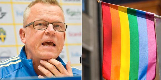 Janne Andersson och en regnbågsflagga.  TT.