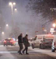Snö i Stockholm i helgen. Fredrik Sandberg/TT / TT NYHETSBYRÅN