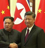 Kim Jong-Un och Kinas President Xi Jinping. CCTV / CCTV
