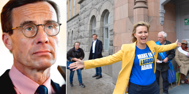 Ulf Kristersson (M) t.v. Ebba Busch Thor (KD) t.h. TT