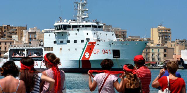 Hamnen Trapani på Sicilien med fartyget Diciotti. ALESSANDRO FUCARINI / AFP