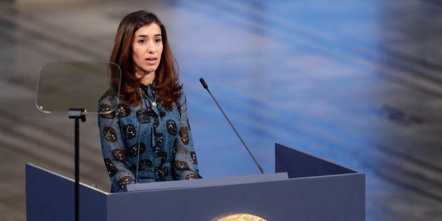 Nadia Murad under sitt tal under prisutdelningen. Berit Roald / TT NYHETSBYRÅN