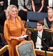 Den nya akademiledamoten Åsa Wikforss under Svenska Akademiens årliga högtidssammankomst Börshuset i Gamla stan. Jonas Ekströmer/TT / TT NYHETSBYRÅN