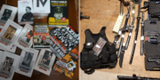 Nazistisk litteratur och vapen som beslagtogs i polisens räd TT