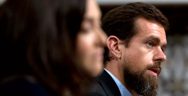 Twitters vd Jack Dorsey vid en utfrågning i senaten 2018.  Jose Luis Magana / TT NYHETSBYRÅN