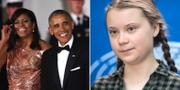 Michelle och Barach Obama, Greta Thunberg. Arkivbilder. TT