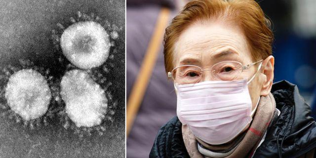 Coronavirus/kvinna med munskydd. Wikimedia/TT