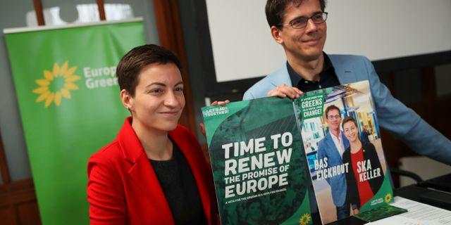 De Grönas kandidater Ska Keller och Bas Eickhout. Francisco Seco / TT NYHETSBYRÅN/ NTB Scanpix