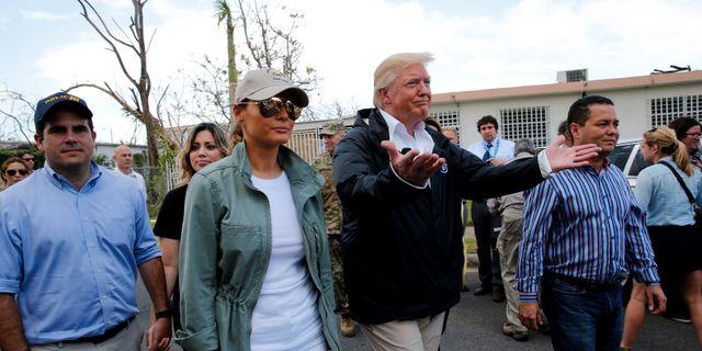 Arkivbild: Donald och Melania Trump på Puerto Rico efter orkanen Maria i oktober 2017. Jonathan Ernst / TT NYHETSBYRÅN