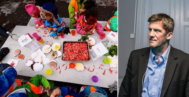 Till vänster, barn som äter skaldjur på ett av Læringsverkstedets förskolor. Till höger, SBB:s vd Ilija Batljan.