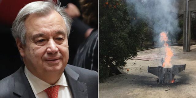 FN:s generalsekreterare António Guterres och en missil som enligt en libanesisk nyhetsbyrå uppges komma från det Syriska luftförsvaret.  TT