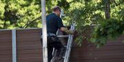 Polisens tekniker på platsen där en död kvinna hittades i stadsdelen Hjärsta i Örebro. Niklas Lindahl / TT / TT NYHETSBYRÅN