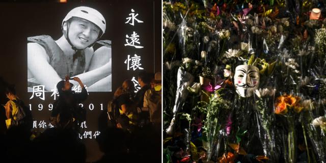 Människor på en vaka för döde studenten Alex Chow Tsz-Lok. TT
