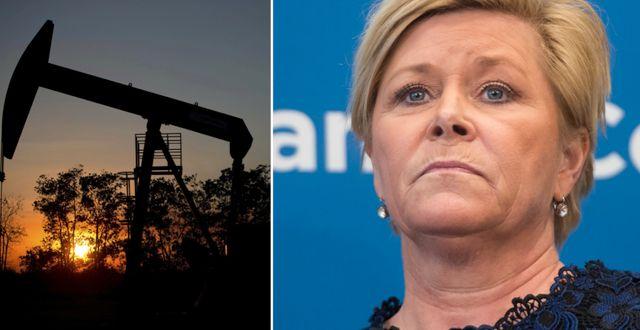 Oljebrunn, finansministern Siv Jensen. Arkivbilder. AFP / TT