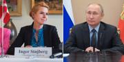 Danmarks integrationsminister Inger Støjberg och Rysslands president Vladimir Putin. TT