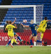 Sam Kerr gör mål för Australien – ett mål som sedan blev bortdömt. STOYAN NENOV / BILDBYRÅN