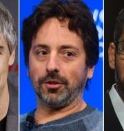 Larry Page, Sergey Brin och Sundar Pichai. Arkivbilder. TT