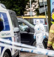 Polisavspärrningar vid Salutorget. Robert Seger/TT / TT NYHETSBYRÅN
