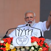 Prime Minister of India Narendra Modi addresses BJP activist during an election campaign rally ahead of Lok Sabha or general election 2019 on April 03, 2019 in West Bengal, India. Shutterstock