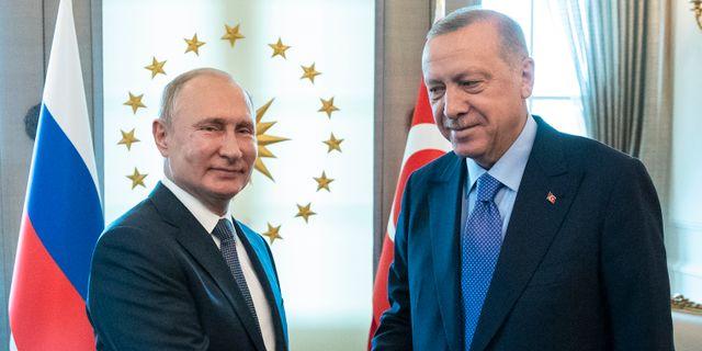 Vladimir Putin och Recep Tayyip Erdogan Pavel Golovkin / TT NYHETSBYRÅN