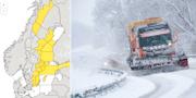 SMHI:s karta över aktuella varningar på lördagskvällen. Till höger: Arkivbild.  TT