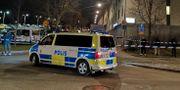 Polisen på plats i Tensta efter dödsskjutningen den 11 januari. Pontus Altin/TT / TT NYHETSBYRÅN