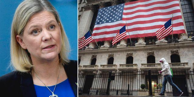 Finansminister Magdalena Andersson, New York-börsen. TT