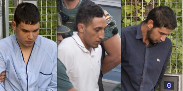 Från vänster: Mohamed Houli Chemlal, Driss Oukabir och Salah El Karib.  STRINGER / AFP