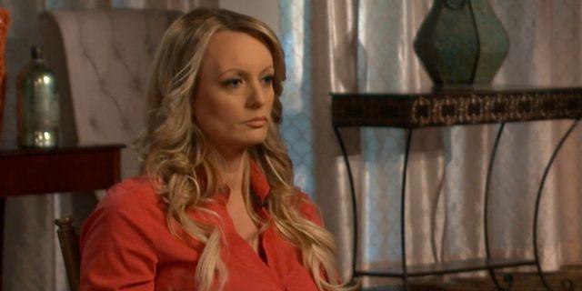 Stormy Daniels/Stephanie Cliffordunder en itervju med CBS 60 Minutes. HANDOUT / TT NYHETSBYRÅN