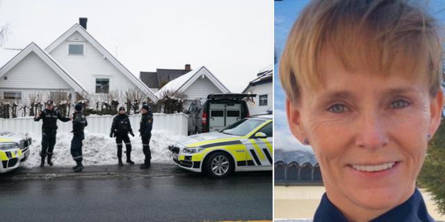 Polis utanför Waras bostad i samband med att hans bil hade satts i brand/Den gripna Laila Bertheussen. TT/VG