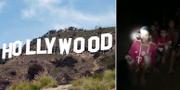 Hollywoodskylt och pojkarna i thailändska grottan. TT/AP.