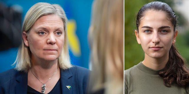 Magdalena Andersson och Romina Pourmokhtari.  TT och Willhelm Sundman.