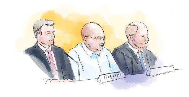 Illustration från rättegången i den första delen av Falcon Funds-åtalet.  Petra Frid/TT / TT NYHETSBYRÅN