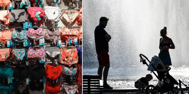 Badkläder och sommarvärme i maj. TT.