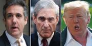 Michael Cohen, Robert Mueller och Donald Trump.  TT