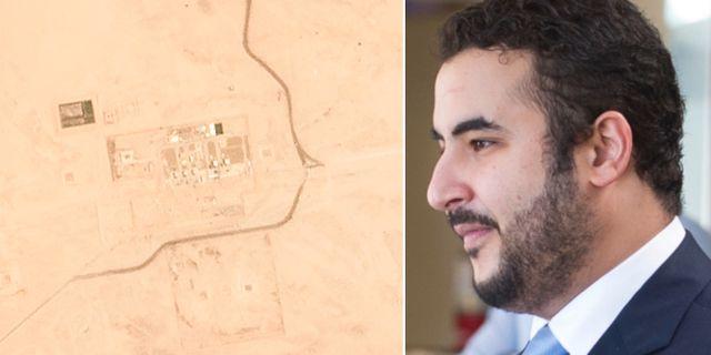 Prins Khalid bin Salman och en av de pumpstationer som attackerats.  TT.