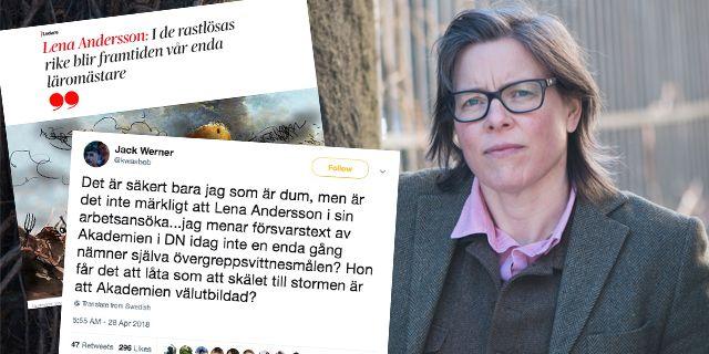 Lena Anderssons text om Svenska Akademien väcker reaktioner. TT/Montage: Omni