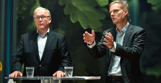 Swedbank styrelseordförande Göran Persson och vd:n Jens Henriksson Pontus Lundahl/TT / TT NYHETSBYRÅN
