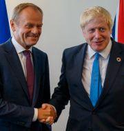 Donald Tusk och Boris Johnson. Arkivbild. Don Emmert / TT NYHETSBYRÅN