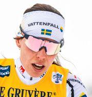 Charlotte Kalla efter 10 kilmoter klassiskt i Tour de Ski i januari. MATHIAS BERGELD / BILDBYRÅN