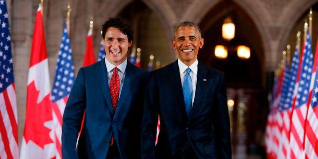 Justin Trudeau och Barack Obama. Arkivbild från 2016. CHRIS ROUSSAKIS / AFP