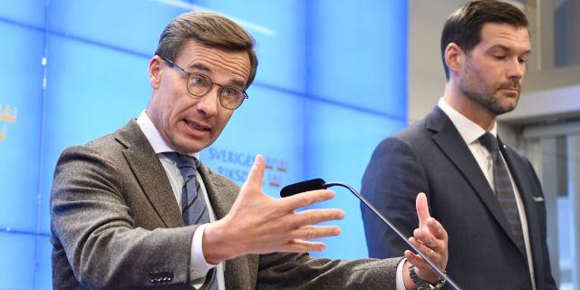 Moderatledaren Ulf Kristersson och partiets rättspolitiska talesperson Johan Forssell.  Jessica Gow/TT / TT NYHETSBYRÅN